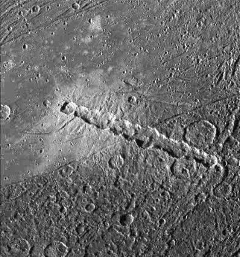 Interesting crater on Ganymede ( Click for Larger Picture )